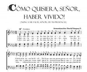 COMO QUISIERA SEÑOR, HABER VIVIDO
