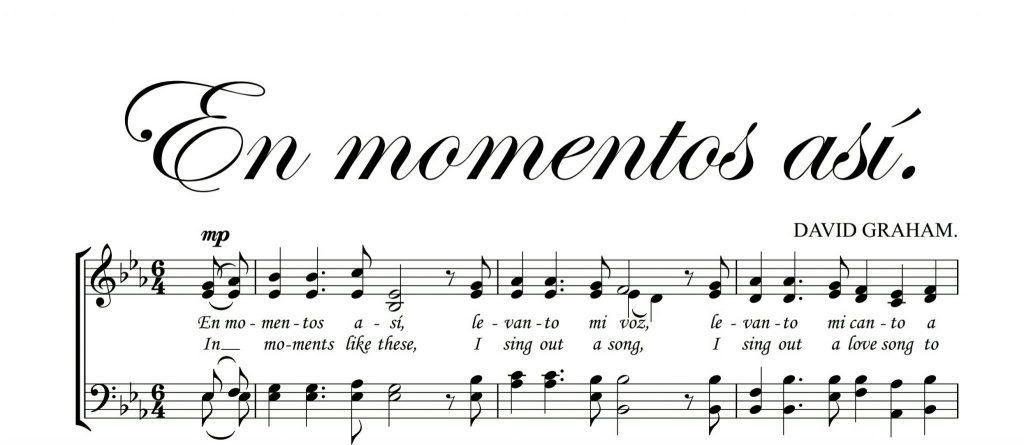 ¿En momentos así, Levanto mi voz, levanto mi canto a Cristo. 🎹 En momentos así,Levanto mi ser, levanto mi alma a Él. partitura coral Aqui en pdf ✅